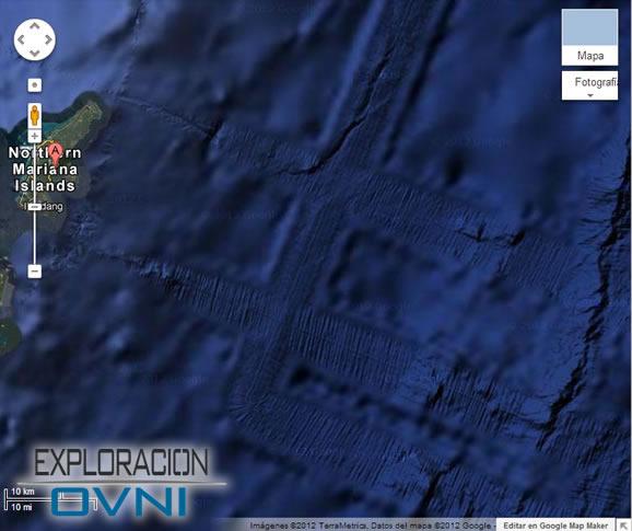 Evidencia de pistas en el fondo marina cerca de la isla Saipán, cadena de Islas Marianas del Norte