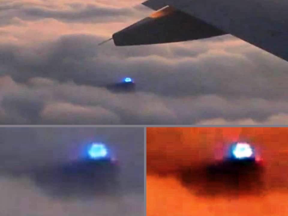 OVNI que emite luz azul intensa grabado desde un avión - 29/12/2012