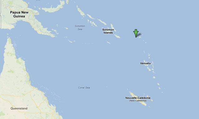 Epicentro del terremoto en Islas Salomón
