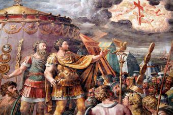 Constantino El Grande presenciando la Cruz en Llamas en el Cielo ¿OVNI involucrado?