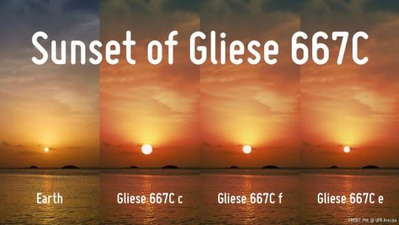 Cerca de la estrella Gliese 667C podrían existir tres planetas potencialmente habitables. Crédito: Laboratorio de Habitabilidad Planetaria de la Universidad de Puerto Rico Arecibo.