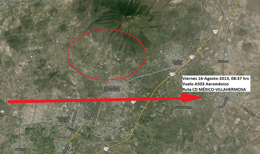 Ruta del vuelo A503 de Aeroméxico, desde donde se tomaron fotografías de 3 objetos voladores desconocidos sobre Teotihuacán de Arista