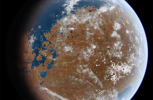 Marte antiguo podría haber sido así (Crédito: Ittiz / Wikimedia Commons)