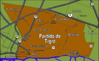 Mapa de ubicación de Don Torcuato en el Partido de Tigre