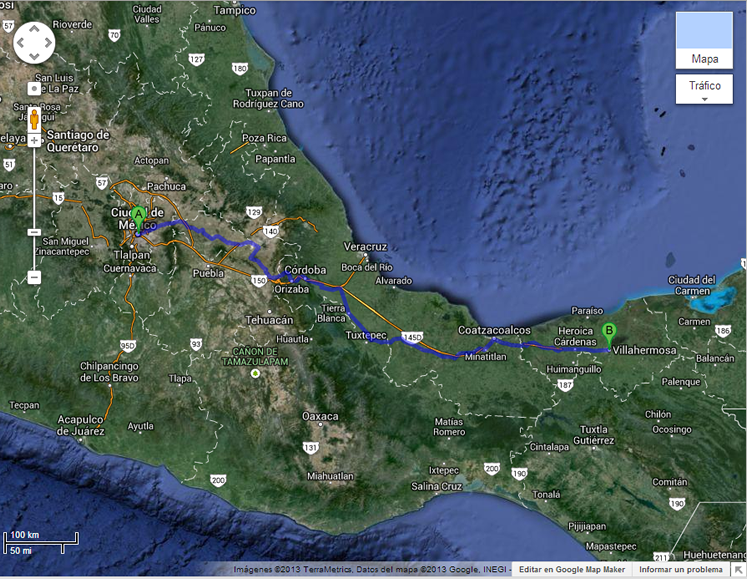 Mapa que muestra la distancia desde el origen y destino del vuelo desde donde se fotografiaron los OVNIs