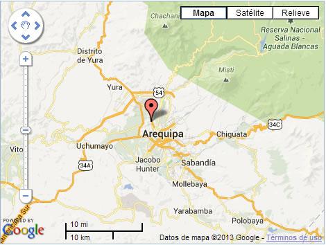 Ciudad de Arequipa, Perú; lugar desde donde se grabó el vídeo recibido