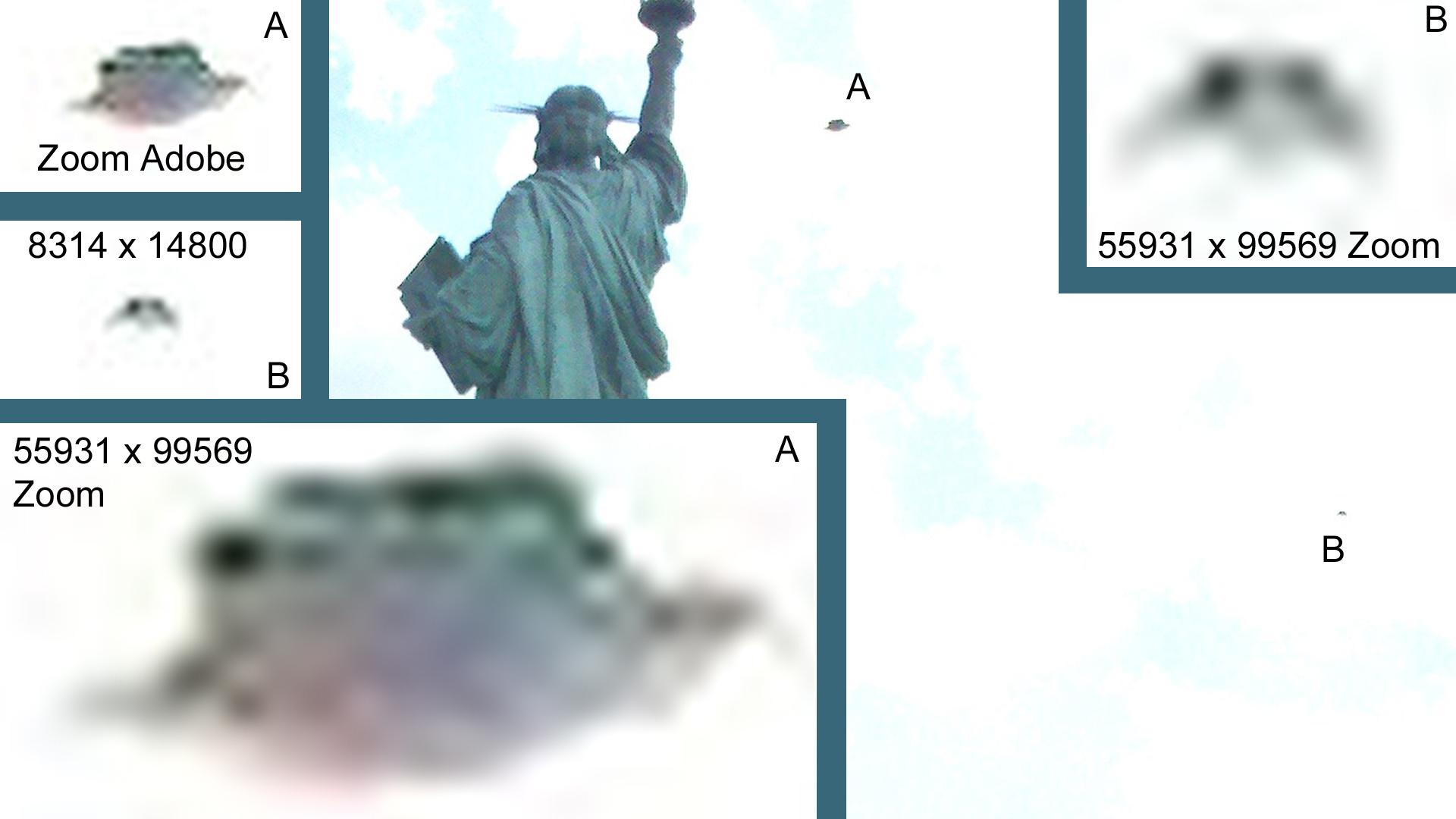 Detalle y ampliación de la anomalía en la fotografía de la Estatua de la Libertad. - Crédito y apoyo en análisis de esta imagen: Alain Jamet - http://www.altynia.fr/