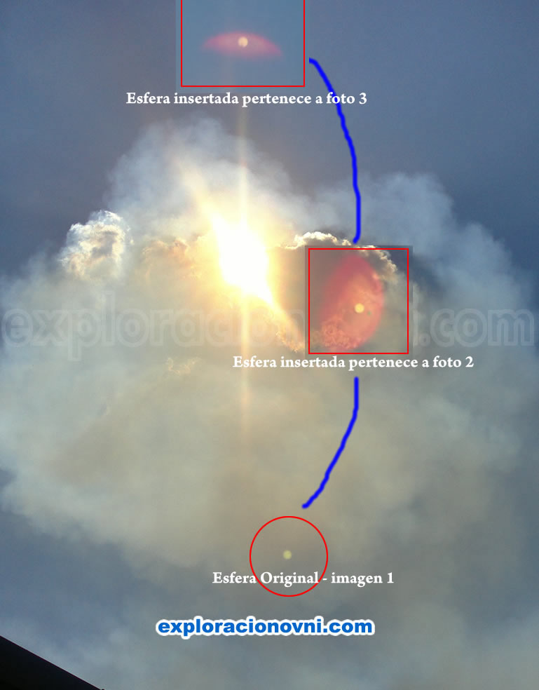 Simulación de la trayectoria de la esfera que aparece en las tres fotografías, aunque no es seguro que la esfera siga una trayectoria, como si fuera un objeto volador, creo conveniente ilustrarla en esta imagen