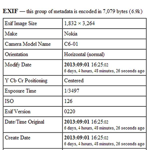 Otro análisis comprueba que las imágenes son originales. Los datos EXIF muestran que la Fecha de edición es igual a la Fecha de Creación (año/mes/día horas:minutos:segundos) y no muestra un programa de edición utilizado