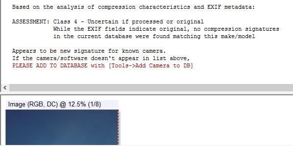 Muestra que los datos EXIF indican que la imagen es original