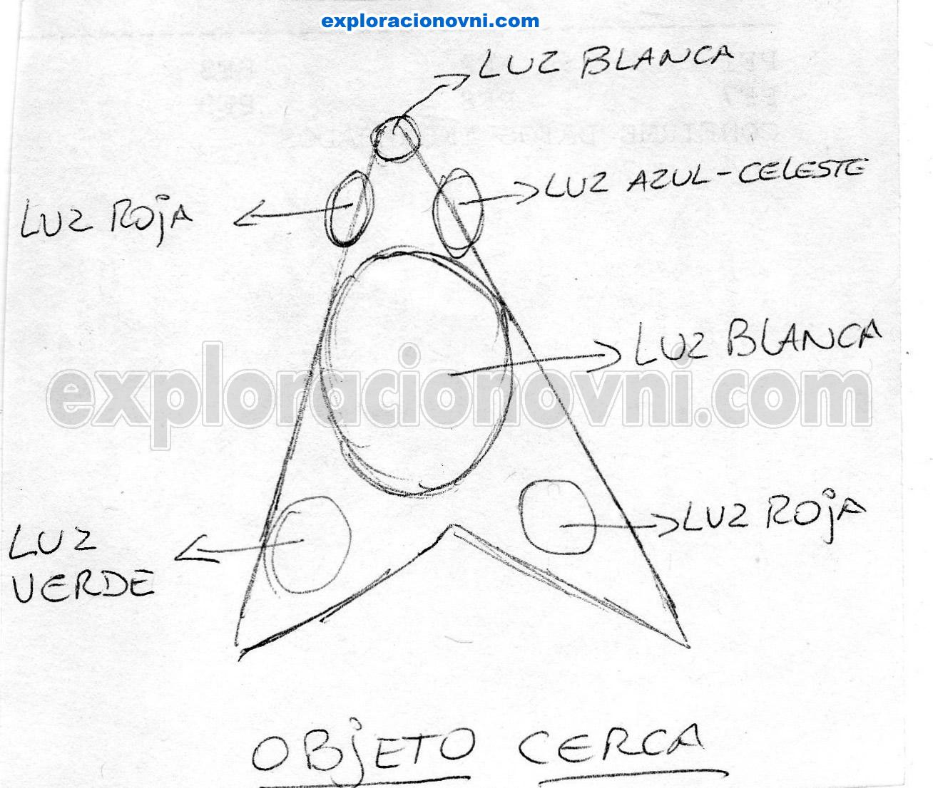 OVNI visto de cerca, exactamente cuando se posó encima de la testigo, a gran altura. Se puede ver la forma triangular, las luces de colores que emite el objeto y la luz blanca de su centro que podría ser su propulsor. Es muy similar al OVNI triangular visto en Bélgica. Tengan en cuenta que el OVNI no ha sido dibujado visto desde abajo, sino que el mismo se encontraba en posición vertical, y se plasmó de esa manera.
