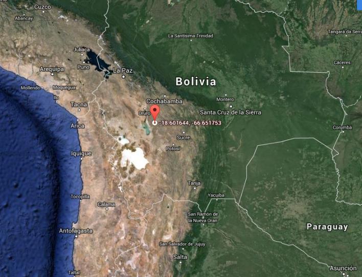 Ubicación del lugar donde se hallaron las extrañas estructuras (Provincia de Oruro, Bolivia)