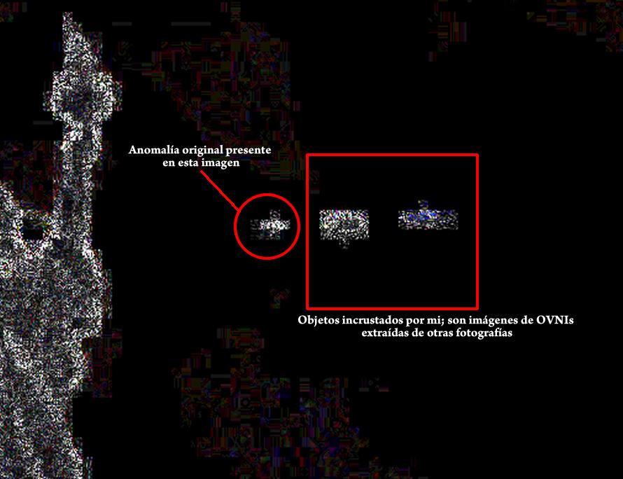 Esta imagen muestra dos objeto incrustados a la derecha (OVNIs falsos) y la anomalía original. Noten la similitud que tienen entre si.