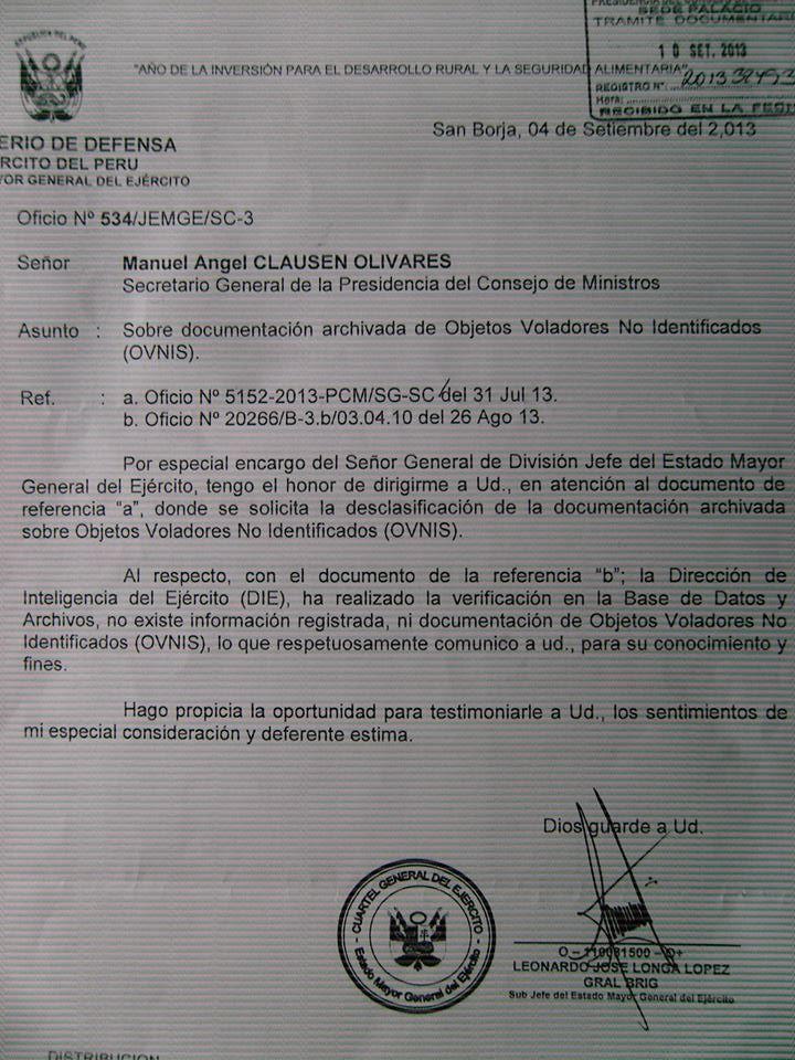 Expediente respuesta del Ejército Peruano al pedido de desclasificación OVNI en Perú