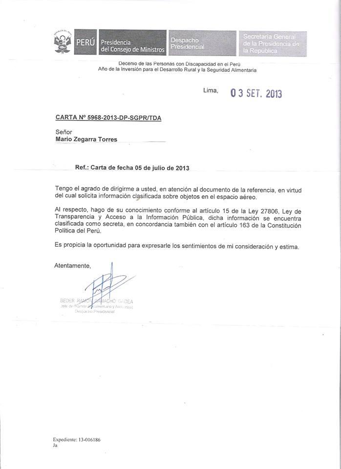 Expediente respuesta del Despacho Presidencial al pedido de desclasificación OVNI en Perú