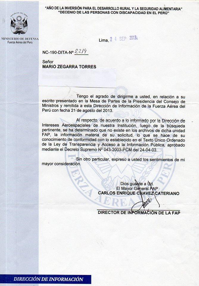 Expediente respuesta de la Fuerza Aérea al pedido de desclasificación OVNI en Perú