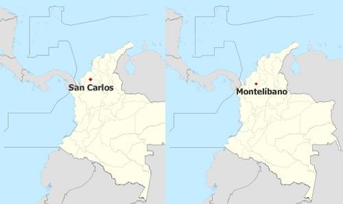 Ubicación de San Carlos y Montelíbano, Colombia; donde se han registrado avistamientos de OVNIs