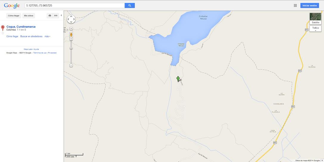 Mapa que indica la zona donde ocurrió el avistamienton (flecha verde)