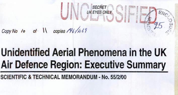Inteligencia de Defensa del Reino Unido sugiere que testigos pueden haber estado expuestos a radiación OVNI