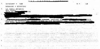 Un archivo COMINT OVNI fuertemente blanqueado. (Crédito: NSA)