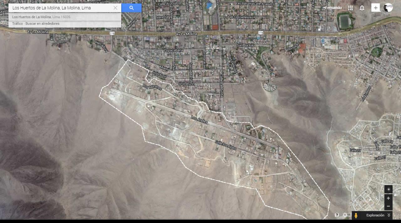 Ubicación de Los Huertos de la Molina, en Google Maps