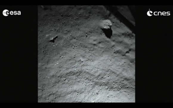 Imagen de ROLIS de poco antes del aterrizaje (Philae/CNES).