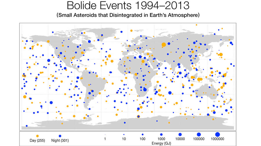 NASA muestra mapa de frecuencia de impactos de asteroides