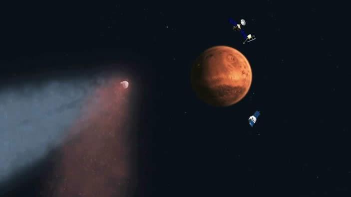 El cometa C/2013 A1 Siding Spring fue observado por tres naves que orbitan el planeta.