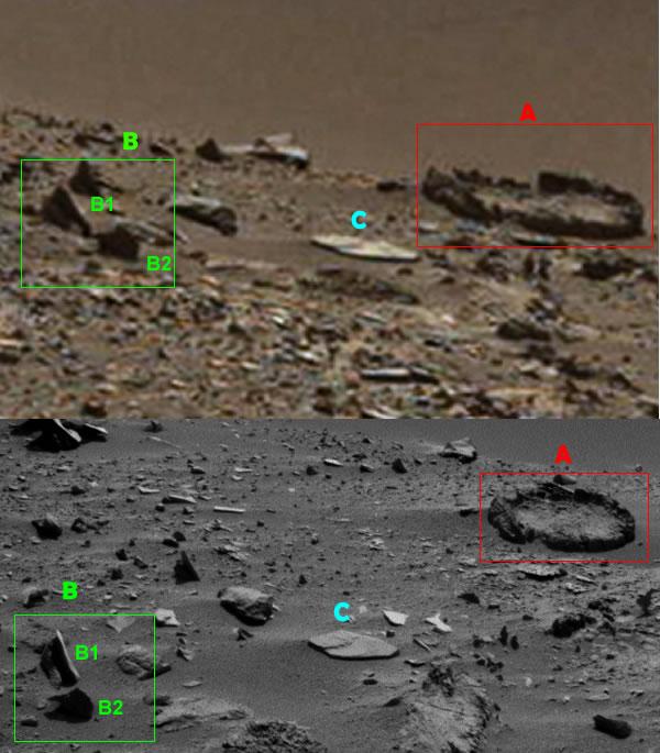 Comparación entre las dos imágenes que muestran la misma zona donde aparecen las anomalías en Marte