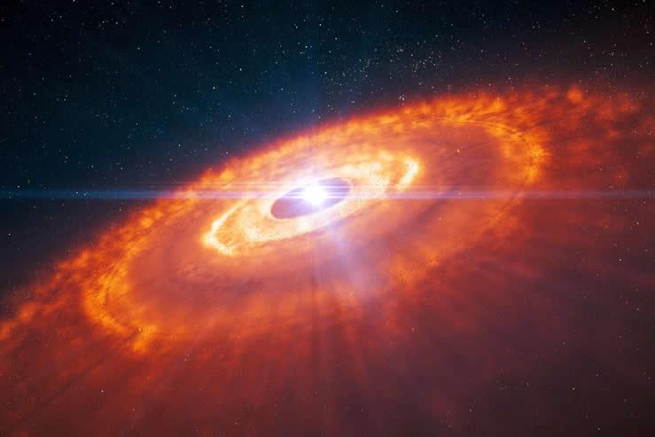 En esta ilustración vemos una estrella joven rodeada por un disco protoplanetario en el cual se forman planetas. Utilizando la configuración de larga base de 15 kilómetros de ALMA, los astrónomos lograron captar la primera imagen detallada de un disco protoplanetario, revelando la compleja estructura del disco. En la ilustración pueden verse los anillos concéntricos de gas, con huecos que indican la formación de planetas, predichos por simulaciones hechas por ordenador. Ahora estas estructuras se han observado con ALMA por primera vez. Crédito: ESO/L. Calçada