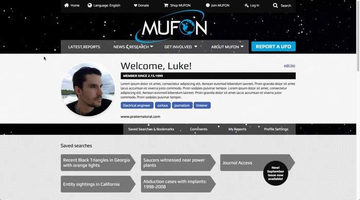 Prototipo de la página de perfil de usuario.  Es posible que cada persona registrada posea una cuenta en donde pueda interactuar.