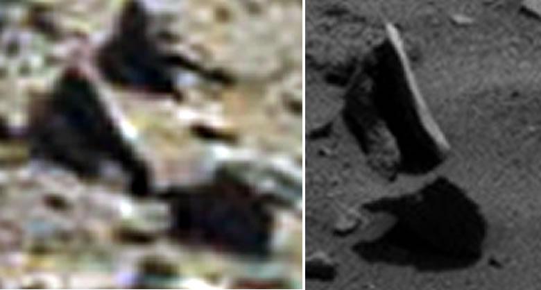 Confirmado: La roca no levita en Marte. Fue un efecto óptico. Imagen de la derecha muestra que lo que se creía no era real.