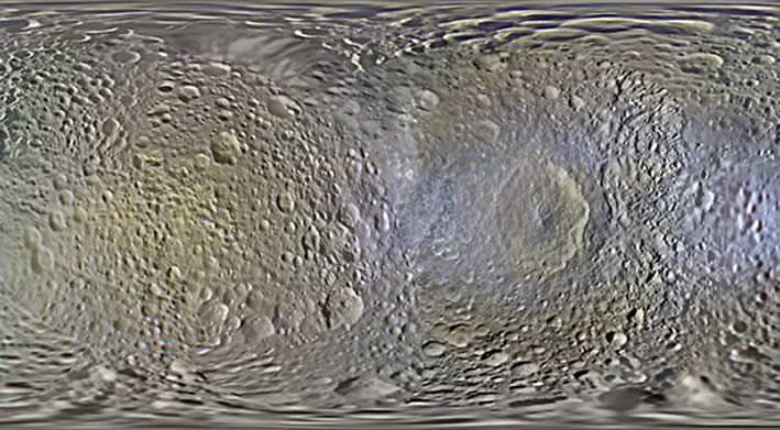 Mapa de Mimas, satélite de Saturno. Tomado por Cassini.