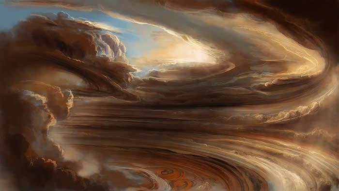 Concepción artística de las nubes de Júpiter.