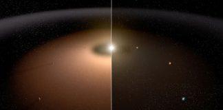 Concepto artístico de un sistema planetario polvoriento (izda.), con otro de escaso polvo estelar (dcha.). Image