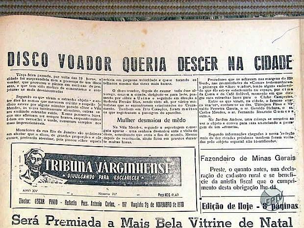 """""""Tribuna Varginhense"""", publicada el 29 de noviembre de 1970. Narra un avistamiento OVNI en Varginha."""