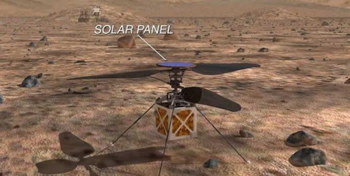 Es posible que en la próxima misión a Marte de NASA, un helicóptero sobrevuele el planeta rojo.