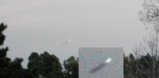 Ampliación de imagen capturada en Dpto. de Soriano, Uruguay. Puede verse un objeto que parece desplazarse a gran velocidad.