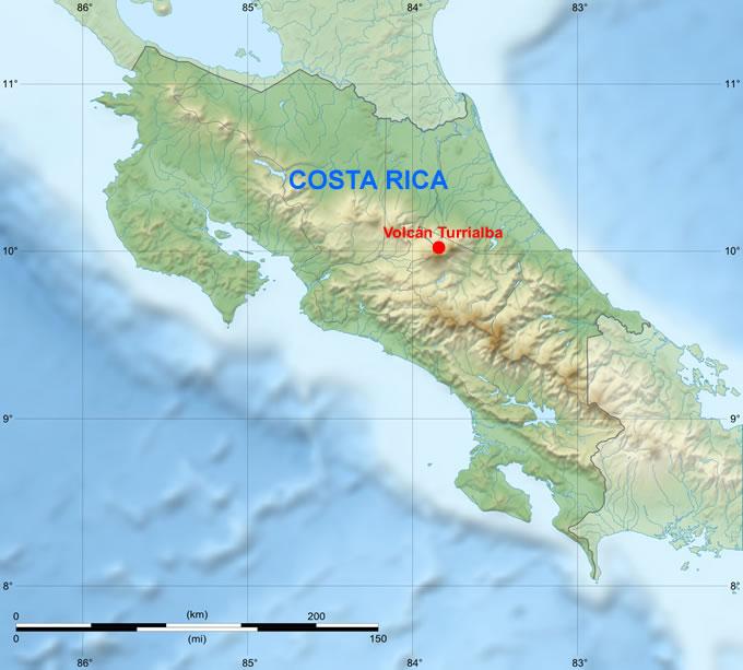 Ubicación del volcán Turrialba