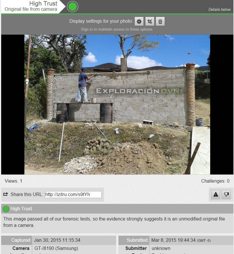 """Análisis de imagen en izitru.com determina """"High Trust"""", original file from camara."""