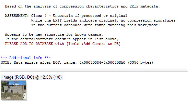 Análisis de imagen en JPEGsnoop indica Class 4 (No es posible determinar si es procesada u original).
