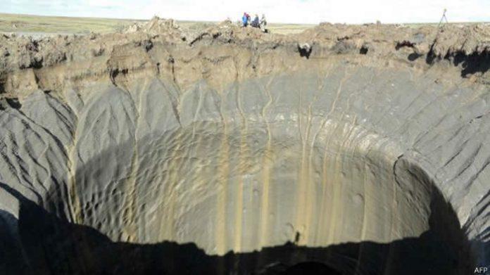 Este viernes 13 de marzo (2015) se reportó la aparición de un cráter de 1 Km. de diámetro.