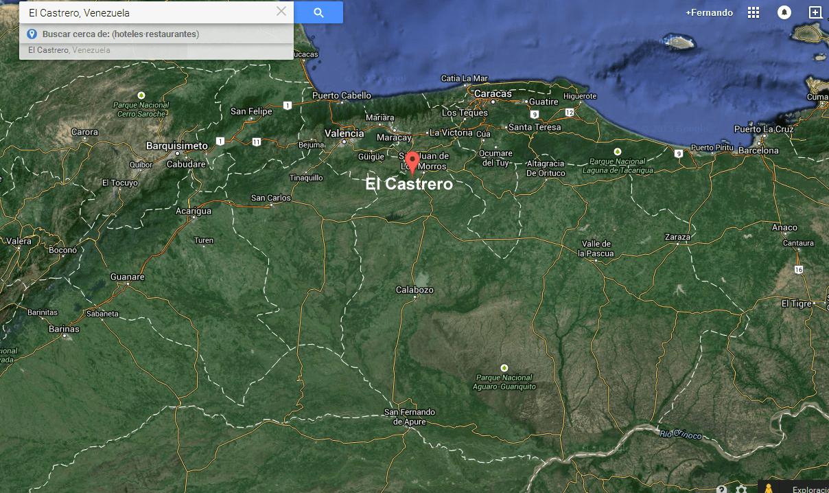 Ubicación del testigo en relación al territorio venezolano.