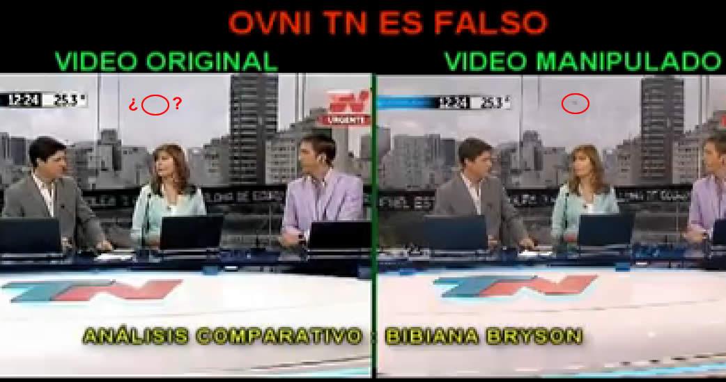 """La evidencia que confirma la falsedad del """"vídeo OVNI de TN"""". Crédito: Bibiana Bryson."""