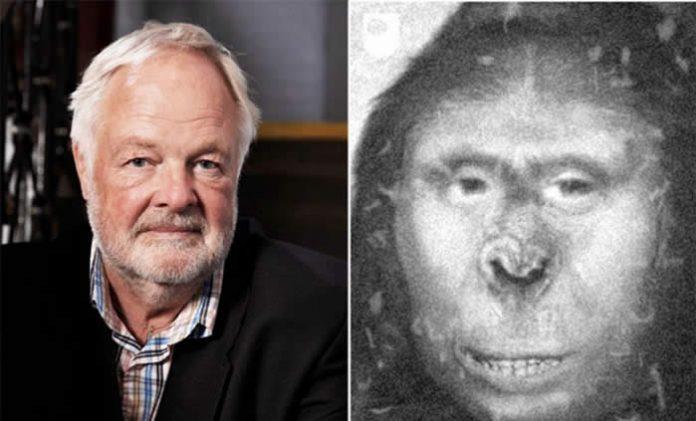 Bryan Sykes (izq.) y el bosquejo de cómo pudo verse la criatura (der.).