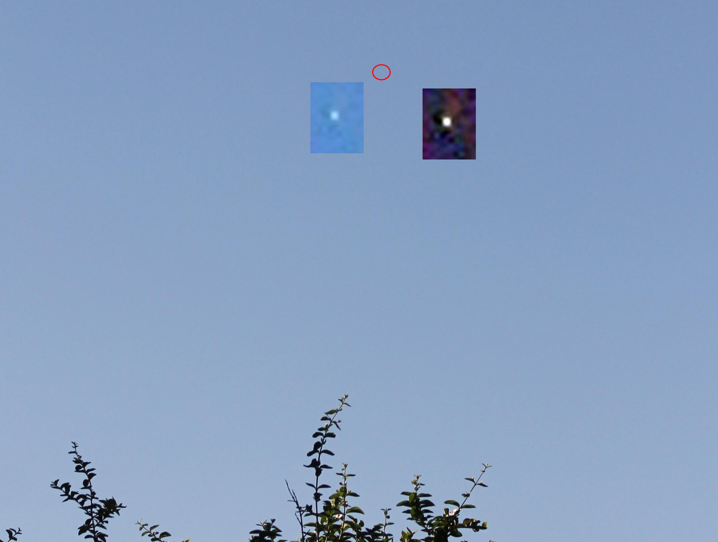 Fotografía tomada una hora después del avistamiento. Se ha aplicado filtros a la estrella para apreciarla de mejor manera. La estrella también puede verse en todas las demás 13 imágenes provistas.