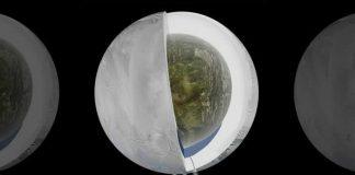 Esta ilustración muestra el posible interior de Encelado. Los datos recogidos por la sonda Cassini de la NASA sugieren que tiene una cubierta externa de hielo y un núcleo rocoso con un océano de agua.