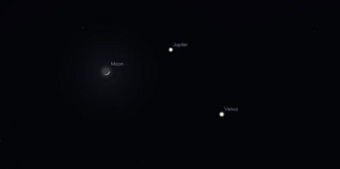 Según la SAC, el triángulo celeste se verá mejor cerca de las 7:40 p.m., es decir justo mientras está oscureciendo. (Ilustración suministrada / Sociedad de Astronomía del Caribe)