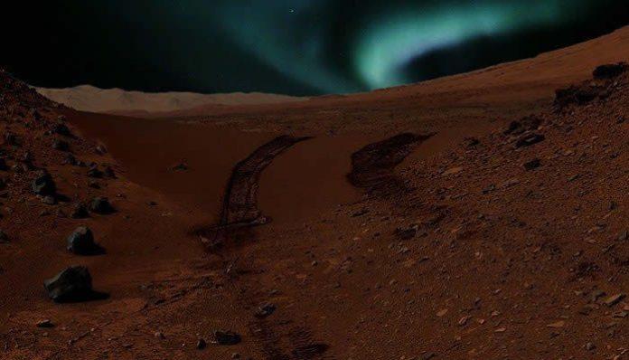 Representación artística de una aurora boreal en Marte.