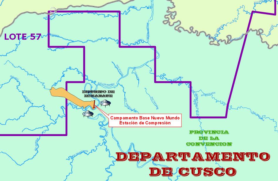 Ubicación del Campamento Nuevo Mundo (Cusco), lugar donde ocurrieron los incidentes OVNI narrados por el testigo.
